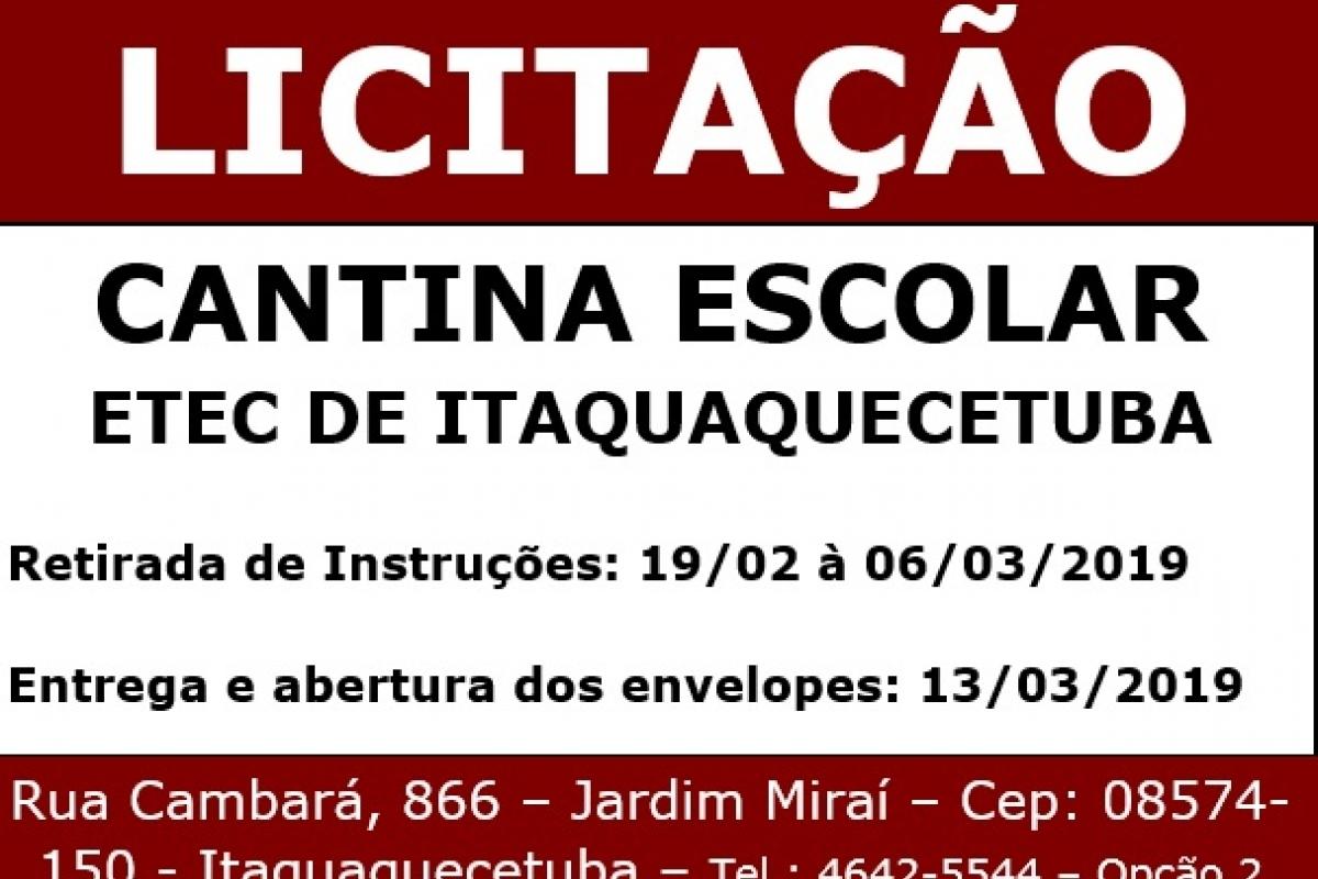 Está aberta a licitação para a cantina da Etec de Itaquaquecetuba