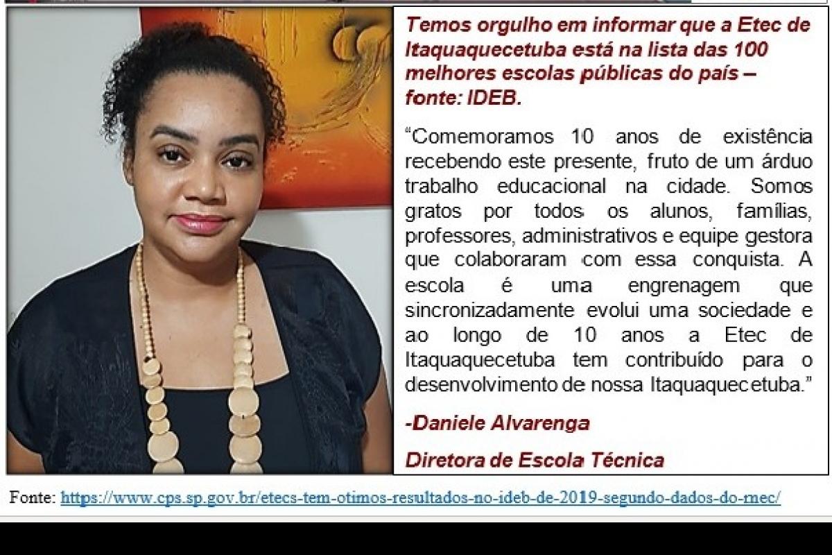 Etec de Itaquaquecetuba na lista das 100 melhores escolas públicas do país - IDEB!!!