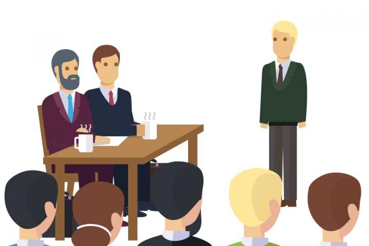 Imagem com pessoas em um conselho de escola